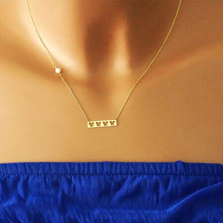Γυναικείο Χρυσό Κολιέ Πεταλούδα 14Κ Μαργαριτάρι Αλυσίδα Λαιμού