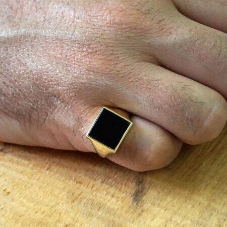 Ανδρικό Δαχτυλίδι Χρυσό Μαύρο Όνυχα Κ14 Κόσμημα Γάμος Αρραβώνας Δώρο