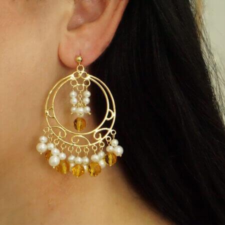 Ασημένια Σκουλαρίκια Με Μαργαριτάρια Λουστρέ Από Ασήμι 925