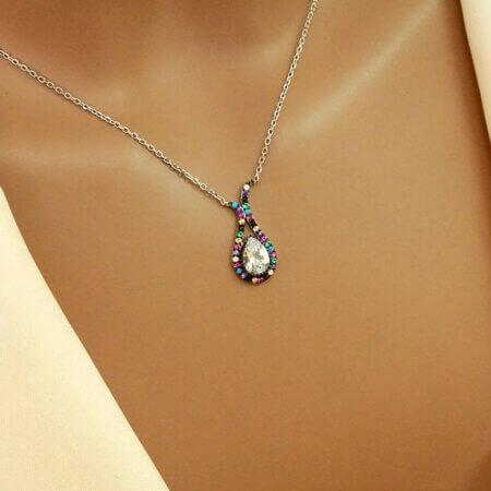 Ασημένιο Κολιέ Σε Σχήμα Δάκρυ 925 Πολύχρωμες Πέτρες Ζιργκόν Αλυσίδα