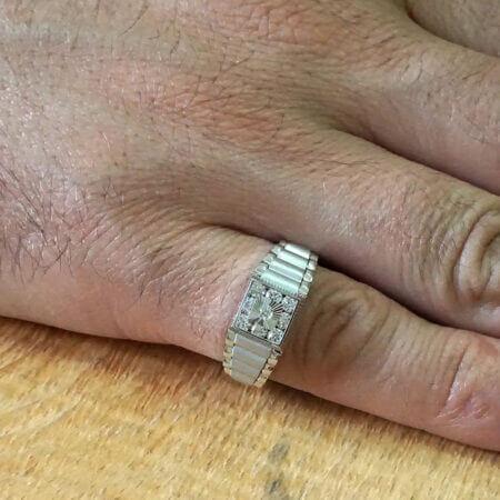 Δαχτυλίδι Ανδρικό Λευκόχρυσο 14 Καράτια Ζιργκόν Πέτρες Κόσμημα