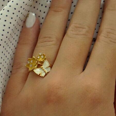 Γυναικείο Χειροποίητο Δαχτυλίδι Χρυσό 14Κ Ζιργκόν Σμάλτο Λευκό Κόσμημα Δώρο