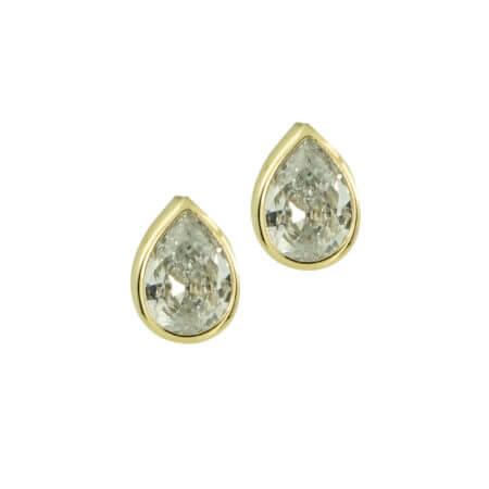 Κίτρινα Χρυσά Σκουλαρίκια Με Λευκή Πέτρα Ζιργκόν 14Κ