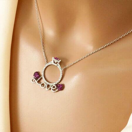 Γυναικείο Κολιέ Δαχτυλίδι Μονόπετρο Love Ασήμι 925 Καρδιά Πέτρες