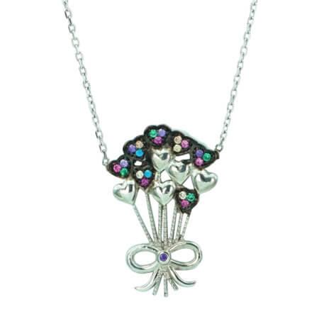 Κολιέ Με Καρδούλες Λουλούδια Ασήμι 925 Πολύχρωμες Ζιργκόν Πέτρες
