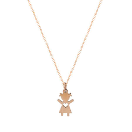 Μενταγιόν Ροζ Χρυσό 14Κ Κοριτσάκι Καρδούλα Γυναικείο