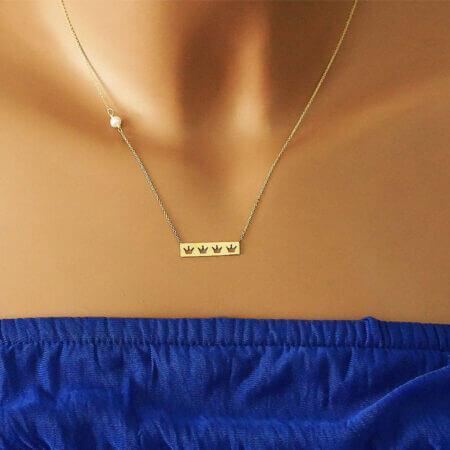 Γυναικείο Χρυσό Κολιέ Με Μαργαριτάρι Κορώνες 14Κ Αλυσίδα Λαιμού