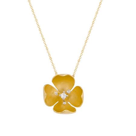 Κρεμαστό Χρυσό Λουλούδι Με Ζιργκόν Λευκόχρυσες Μπίλιες 14Κ