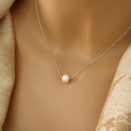 Λευκόχρυσο Μενταγιόν Με Μαργαριτάρι 14 Καρατίων Κόσμημα Δώρο