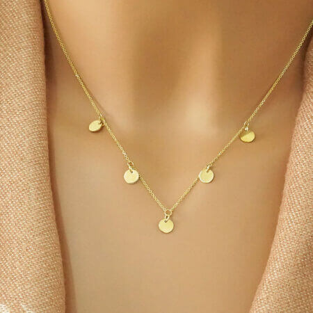 Μοντέρνο Κολιέ Με Κύκλους Σε Κίτρινο Χρυσό 14Κ Γυναικείο