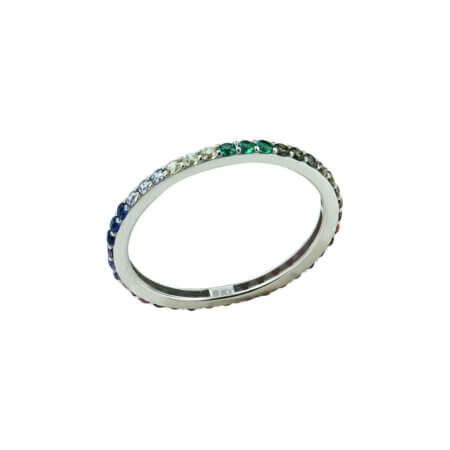 Ολόβερο Δαχτυλίδι Λευκόχρυσο 9Κ Πολύχρωμες Πέτρες