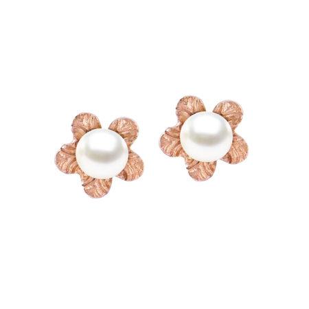 Ροζ Χρυσά Καρφωτά Σκουλαρίκια Λουλούδι Με Μαργαριτάρι 14Κ