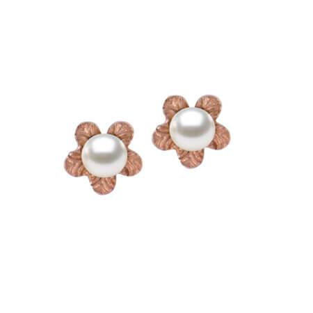 Ροζ Χρυσά Σκουλαρίκια Με Μαργαριτάρια 14Κ