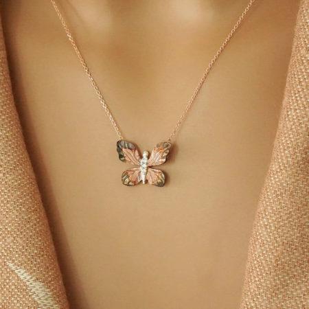Ροζ Χρυσό Κρεμαστό Πεταλούδα Ζιργκόν 14Κ Επιπλατίνωμα