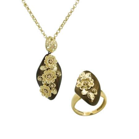 Σετ Κοσμημάτων Χρυσό 14Κ Κολιέ Δαχτυλίδι Μοτίφ