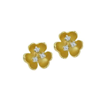Σκουλαρίκια Γυναικεία Χρυσά Λουλούδι Με Ζιργκόν 14Κ