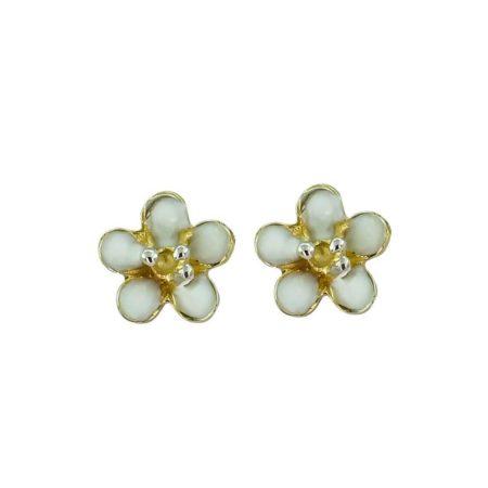 Σκουλαρίκια Χρυσά Καρφωτά Λουλούδι Λευκό Σμάλτο 14Κ