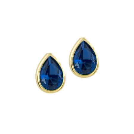 Σκουλαρίκια 14 Καράτια Σε Κίτρινο Χρυσό Και Μπλε Πέτρα