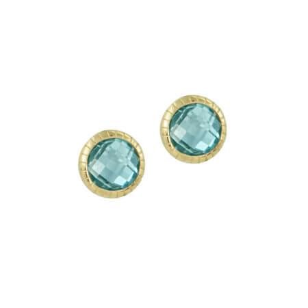 Σκουλαρίκια Χρυσά Με Γαλάζια Πέτρα 14Κ