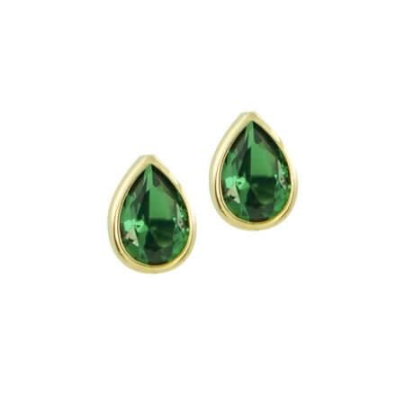 Σκουλαρίκια Χρυσά Καρφωτά 14Κ Με Πράσινη Ζιργκόν Πέτρα