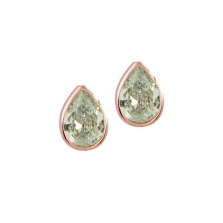 Σκουλαρίκια Καρφωτά Σε Ροζ Χρυσό 14Κ Με Λευκή Ζιργκόν Πέτρα