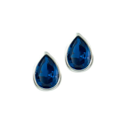 Σκουλαρίκια Με Μπλε Πέτρα Σε Λευκό Χρυσό 14Κ