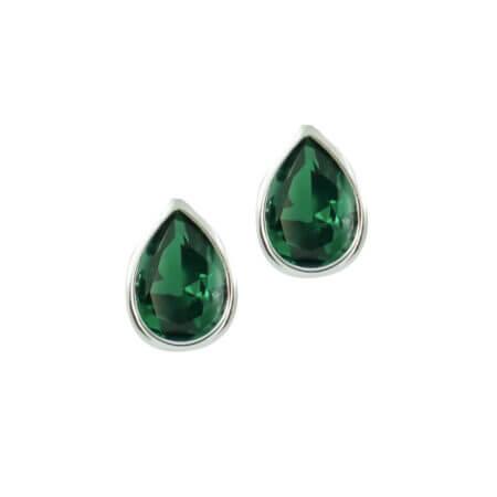 Σκουλαρίκια Με Πράσινη Πέτρα Ζιργκόν Σε Λευκό Χρυσό 14Κ