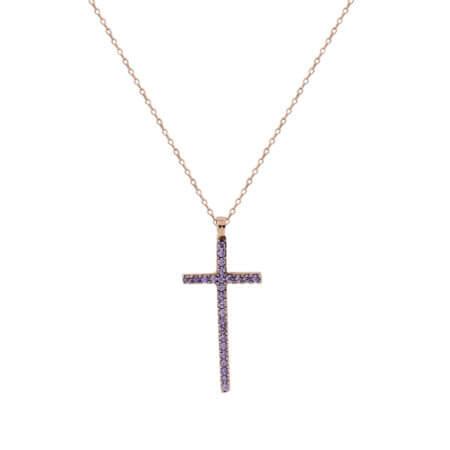 Σταυρός Με Ζιργκόν Πέτρες Σε Ροζ Χρυσό 14Κ