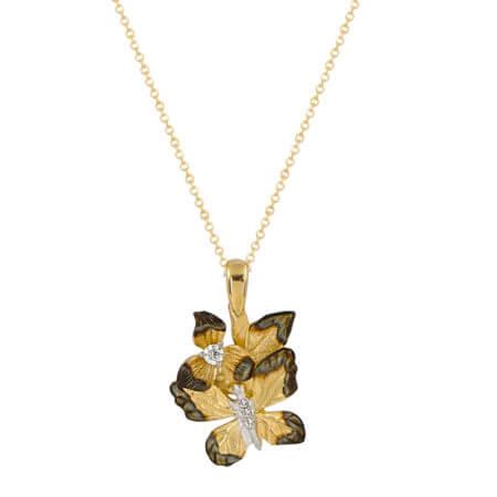Χειροποίητο Μενταγιόν Πεταλούδα Χρυσό 14Κ Μαύρο Επιπλατίνωμα Ζιργκόν