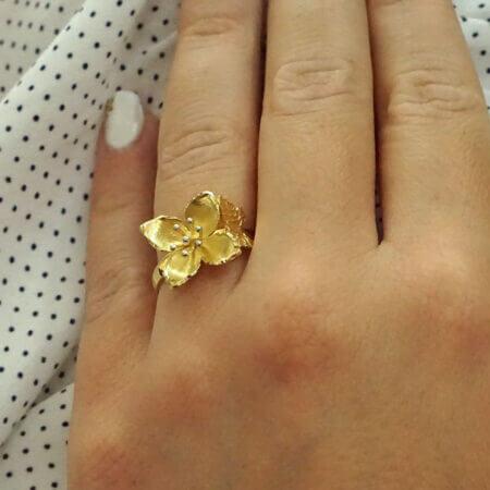 Χειροποίητο Χρυσό Δαχτυλίδι Πεταλούδα Λουλούδι 14 Καρατίων Γυναικείο Κόσμημα Μοντέρνο