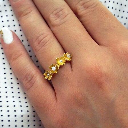 Χειροποίητο Χρυσό Δαχτυλίδι Λουλούδια Ζιργκόν Κ14 Γυναίκα Κόσμημα Πέτρες