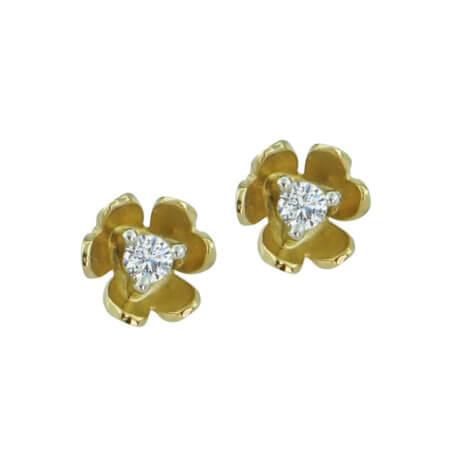 Χρυσά Σκουλαρίκια Λουλούδι Καρφωτά 14Κ Ζιργκόν