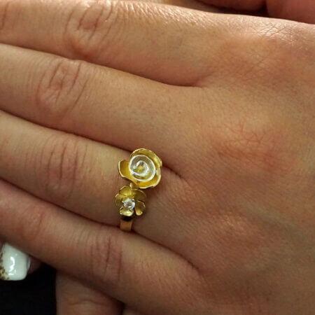 Χρυσό Δαχτυλίδι Χειροποίητο Λουλούδια Ζιργκόν Πέτρα Κ14 Γυναίκα Λευκόχρυσο Κόσμημα