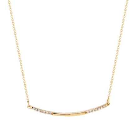 Χρυσό Κολιέ 14Κ Γραμμή Ζιργκόν Πέτρες
