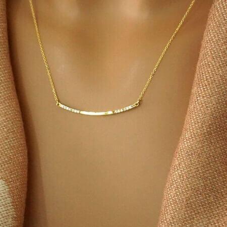 Χρυσό Κολιέ Γραμμή Κ14 Ζιργκόν Πέτρες Γυναίκα Κρεμαστό Κόσμημα
