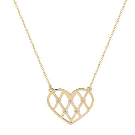 Γυναικείο Χρυσό Κρεμαστό Καρδιά 14Κ Λευκές Πέτρες Ζιργκόν
