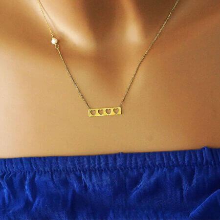 Γυναικείο Χρυσό Κολιέ Με Καρδούλες Μαργαριτάρι 14Κ Αλυσίδα Λαιμού