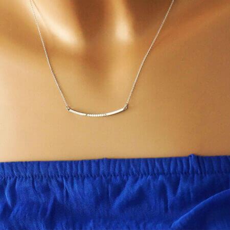 Γυναικείο Κολιέ Με Λευκές Πέτρες Λευκόχρυσο 14Κ Ζιργκόν Αλυσίδα Λαιμού