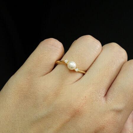 14Κ Χρυσό Δαχτυλίδι Με Μαργαριτάρι