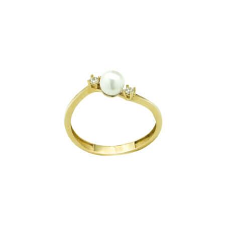 14Κ Χρυσό Δαχτυλίδι Με Μαργαριτάρι Ζιργκόν Πέτρες
