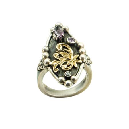 950-18Κ Ασημόχρυσο Δαχτυλίδι Με Πέτρες Χειροποίητο