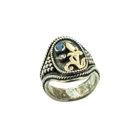 950-18Κ Ασημόχρυσο Χειροποίητο Δαχτυλίδι Με Ζαφείρι Brilliant