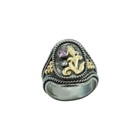 950-750 Ασημόχρυσο Δαχτυλίδι Με Μπριγιάν Ρουμπίνι Χειροποίητο