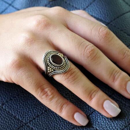 Ασημόχρυσο Δαχτυλίδι Με Ρουμπίνι Χειροποίητο