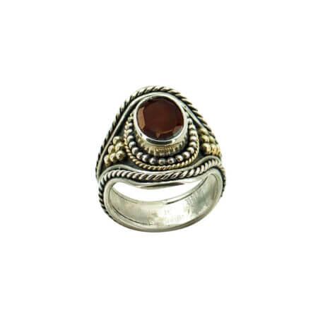 Ασημόχρυσο Δαχτυλίδι Με Ρουμπίνι Χειροποίητο 950-18Κ