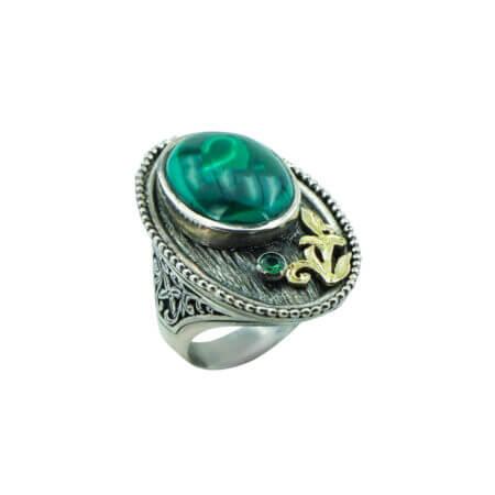 Ασημόχρυσο Χειροποίητο Δαχτυλίδι Με Πράσινη Πέτρα Μαλαχίτη 950-18Κ