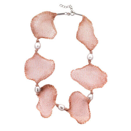 Ασημένιο Γυναικείο Κολιέ Με Μαργαριτάρια 925 Και Ροζ Σχέδια