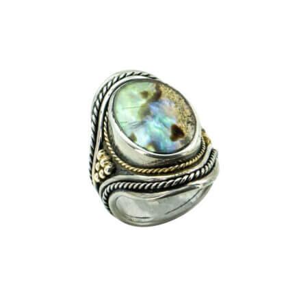 Ασημόχρυσο 950-18Κ Χειροποίητο Δαχτυλίδι Madre Perla