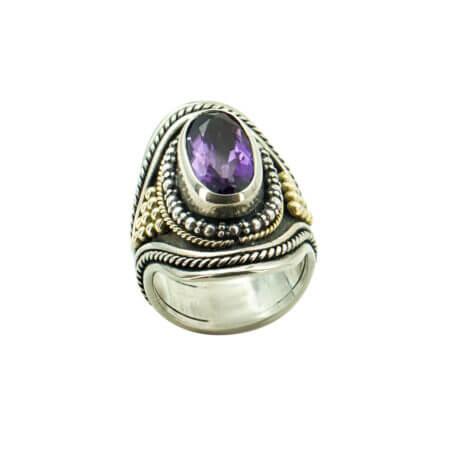Ασημόχρυσο 950-18Κ Δαχτυλίδι Με Μωβ Πέτρα Αμέθυστο