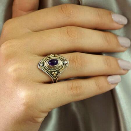 Boho Χειροποίητο Δαχτυλίδι Με Αμέθυστο